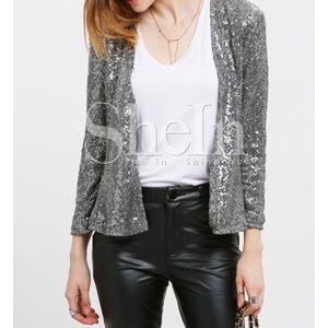 NWOT SHEIN Silver sequin blazer